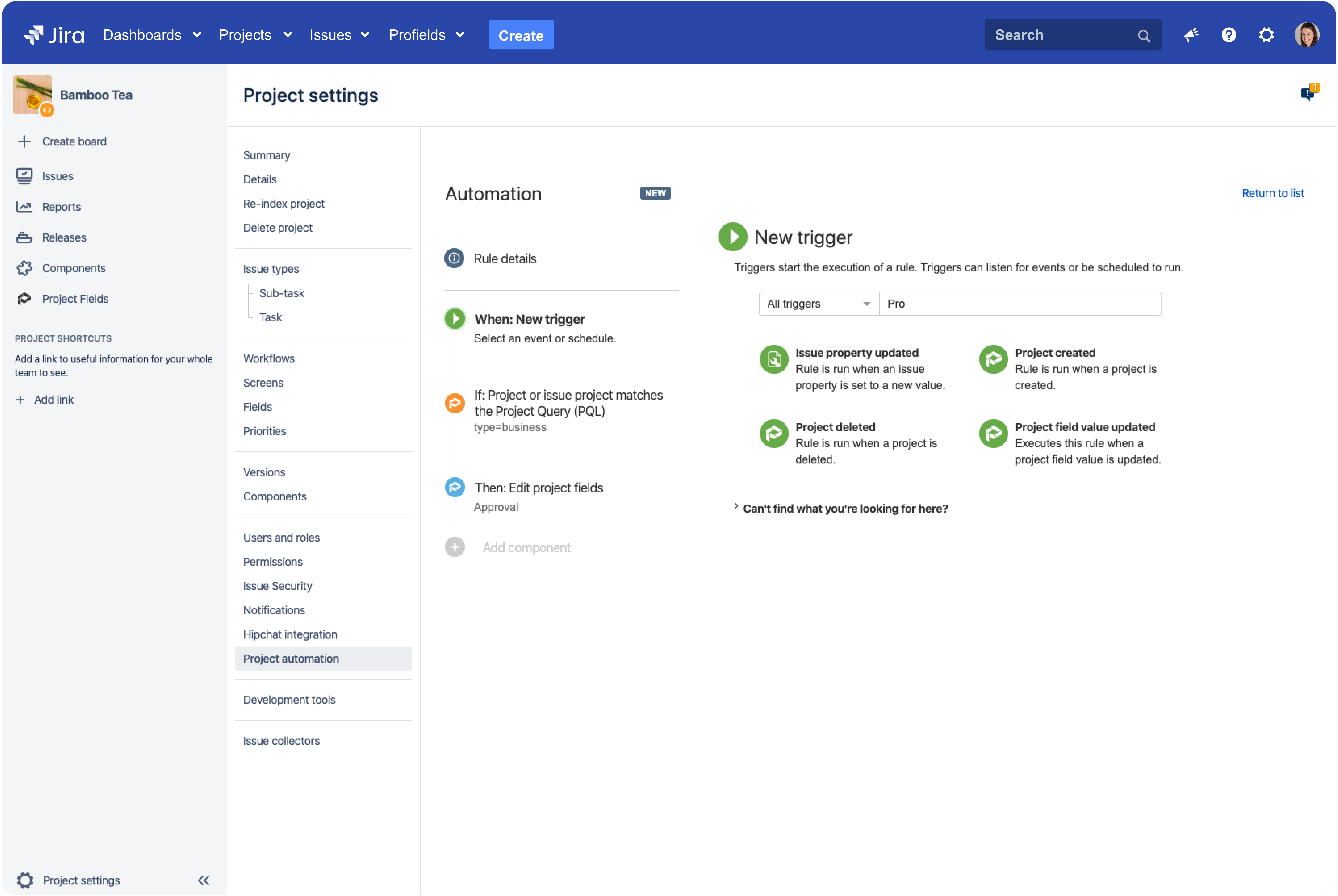 Automate the tracking of Jira projects integration Profields with Automation for Jira