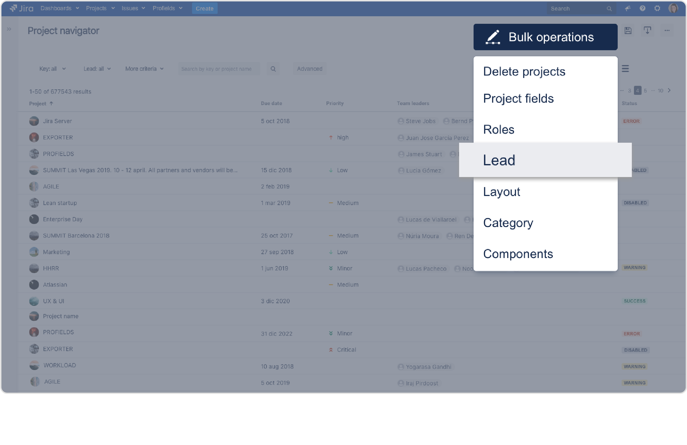 Profields for Jira | Change jira projects, all at once