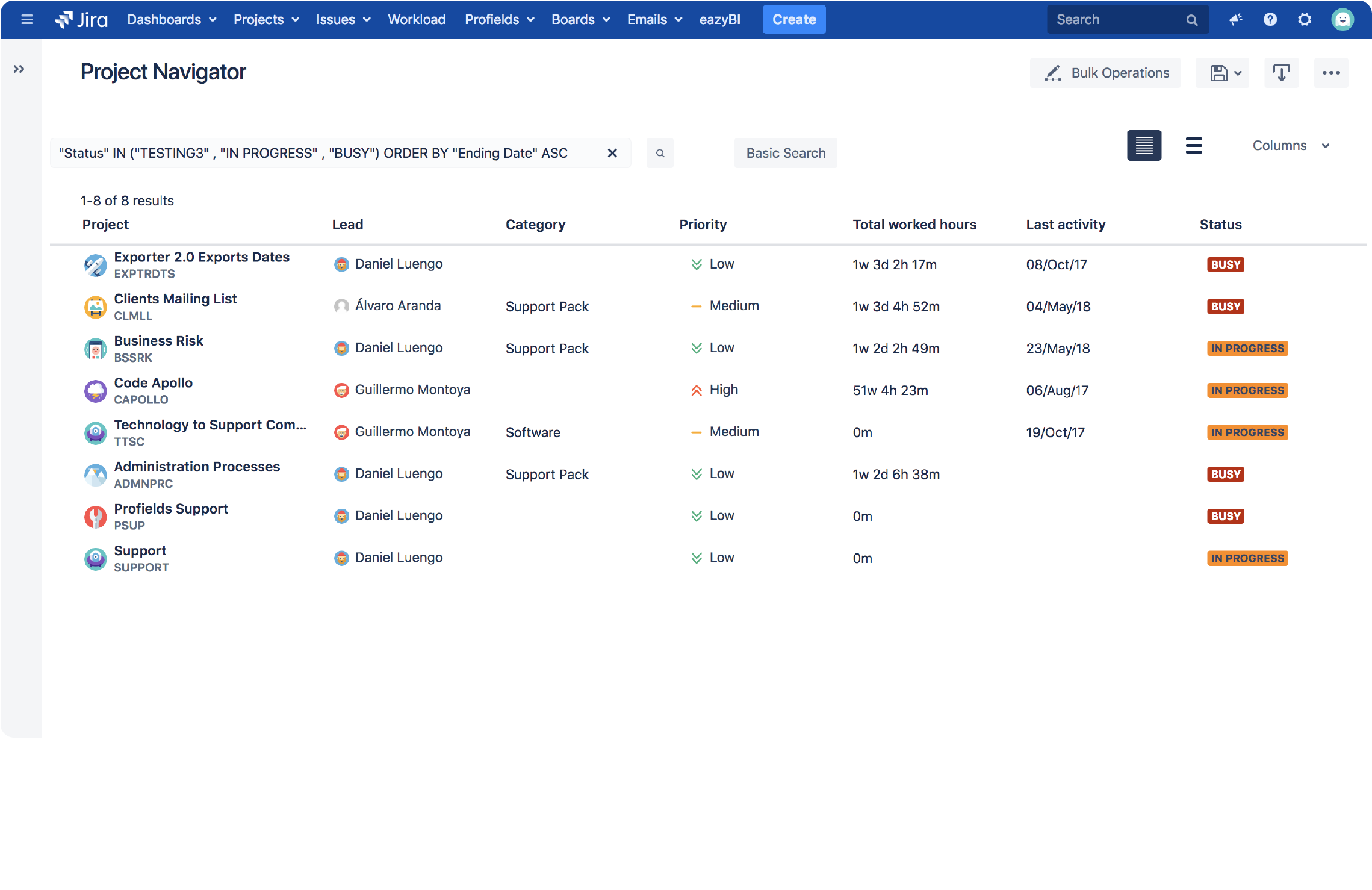 Profields for Jira | The same as the Jira issue navigator but for projects