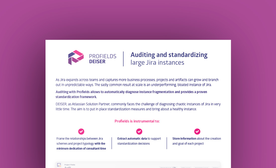 Profields for Jira use case | Audit and Standarize Jira projects