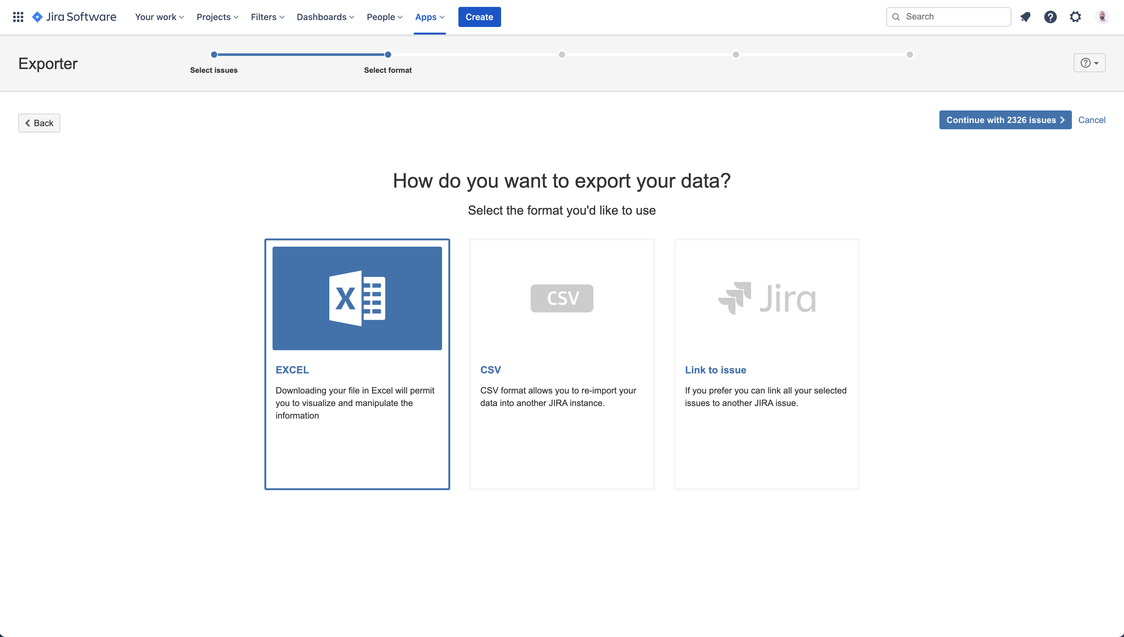 Exporta issues de Jira Cloud a Excel y CSV