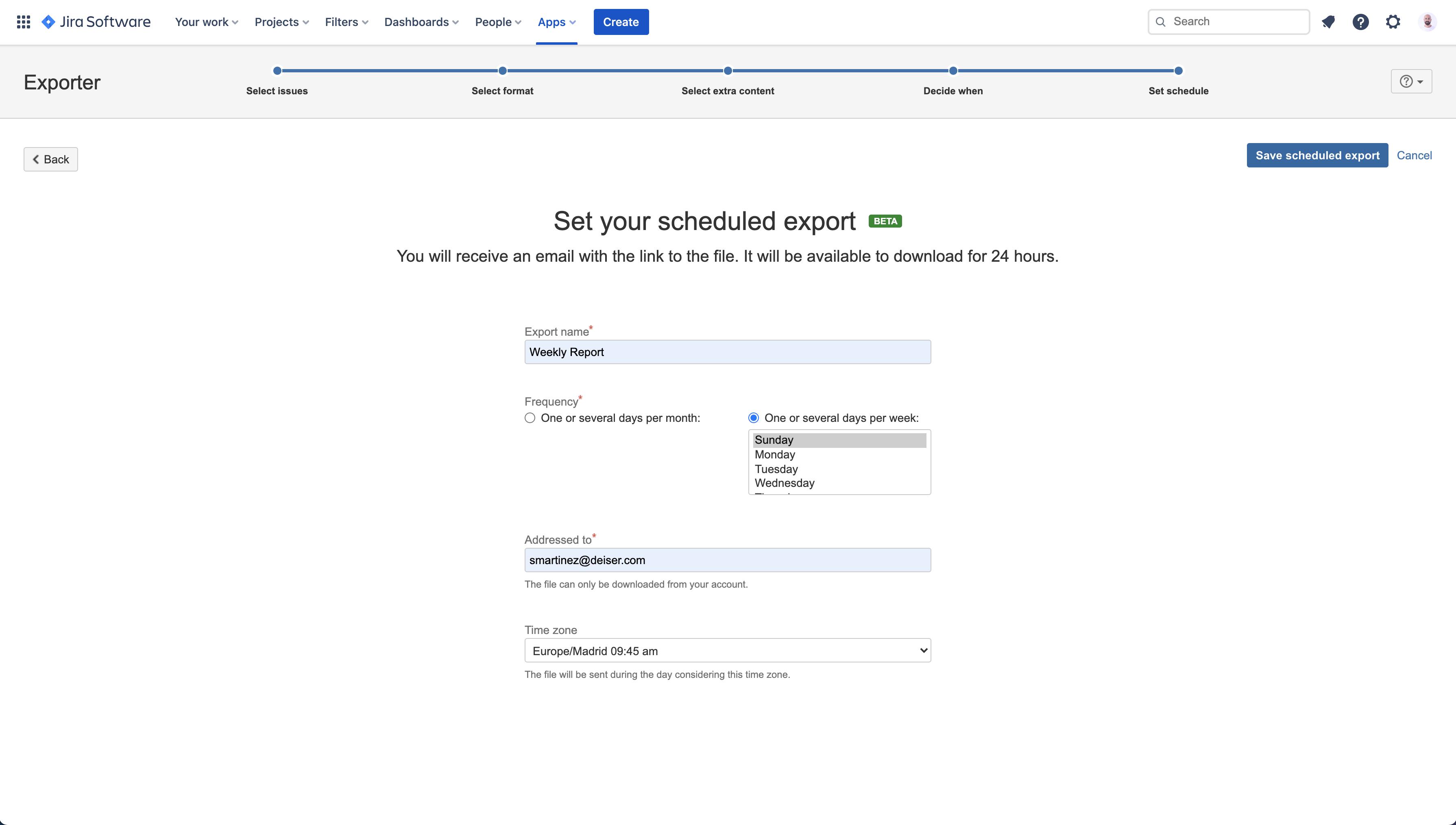 Automatiza el envío de tus exportaciones de issues de Jira